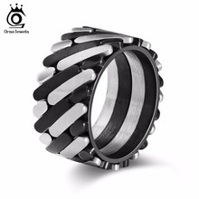 ORSA JEWELS Stainless Steel Rings For Women Personalized Design Punk  Style Surface Width 12 MM Men Band Party Jewelry GTR37