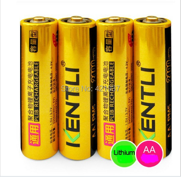 KENTLI 4pcs/lot AA Battery Powerful 1.5VAA 2400mAh Lithium Li-ion Li-polymer Rechargeble Battery For Camera KTV Microphone ect.
