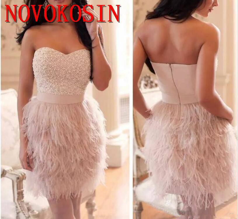 Sweetheart Beaded Pearls Cocktail Dresses Ostrich Feather 2019 High Quality Women Sleeveless Formal Party Gown