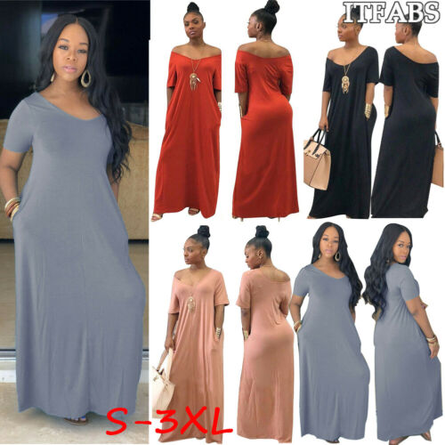 US $5.43 30% OFF|Women Solid Long Maxi Dress V Neck Pocket Short Sleeve  Loose Solid Dresses Plus Size S 3XL-in Dresses from Women\'s Clothing on ...