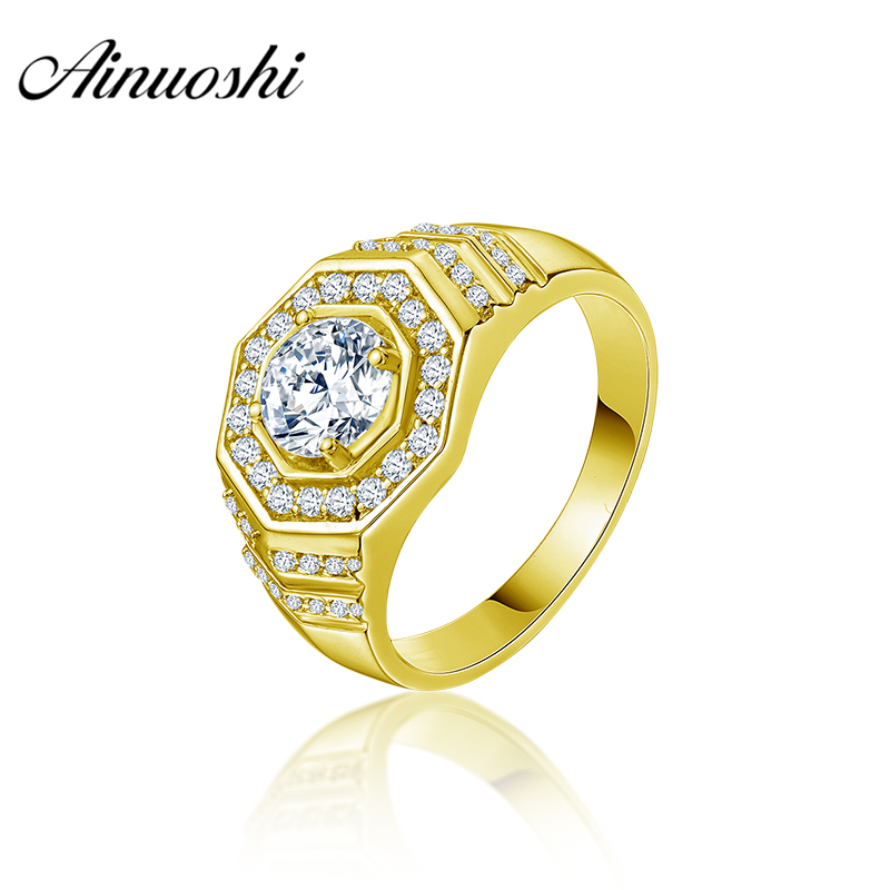 купить AINUOSHI 10K Solid Yellow Gold Men Ring Round Cut Geometric Ring Engagement Wedding Male Jewelry 4.9g Exquisite Wedding Band