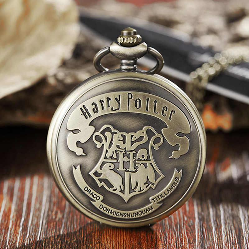 Винтажные милые карманные часы в стиле Хогвартс Гарри-Поттера, ожерелье, Бронзовый милый брелок, цепочка, подвеска для детей, для мальчиков, Поттера, фанатов, подарок