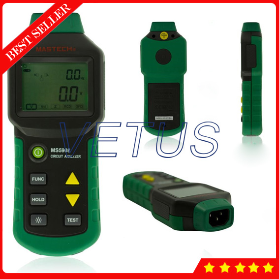 MASTECH MS5908 Ture RMS Circuit Analyzer with Low Voltage Line Fault GFCI Tester mastech ms5908 circuit analyzer trms ac low voltage distribution line fault tester rcd gfci sockets testing