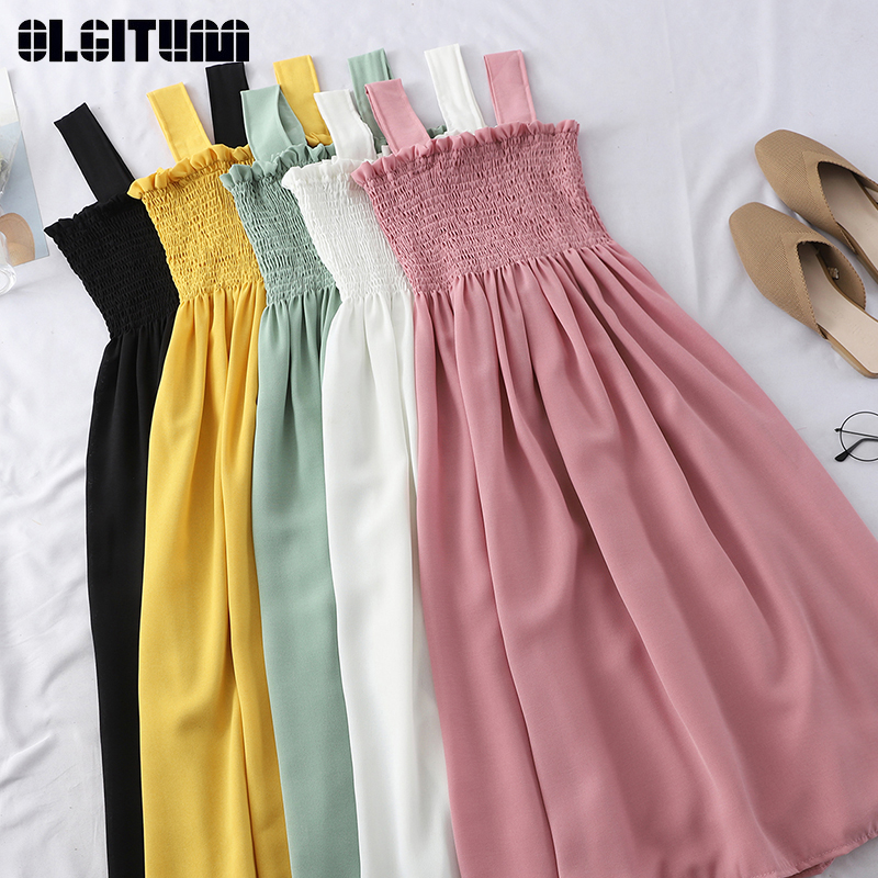 Summer Slash Neck Dress Women 2020 Solid Color Bottoming Dress Pleated Stretch Wooden Ear Holiday Dress Vestidos Robe Mujer