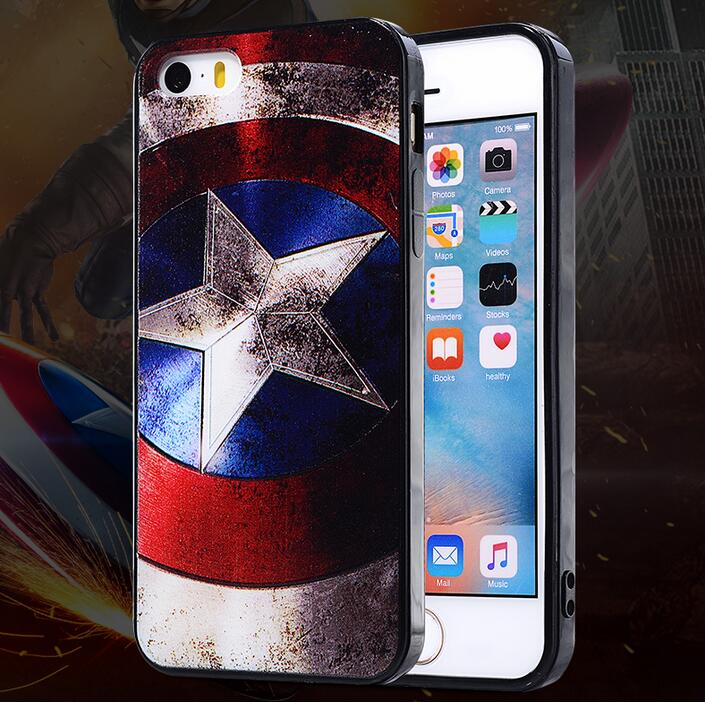 3D Painting Marvel Shield Case for iPhone 4S 5S 6 6S Plus 7 8 X Cool