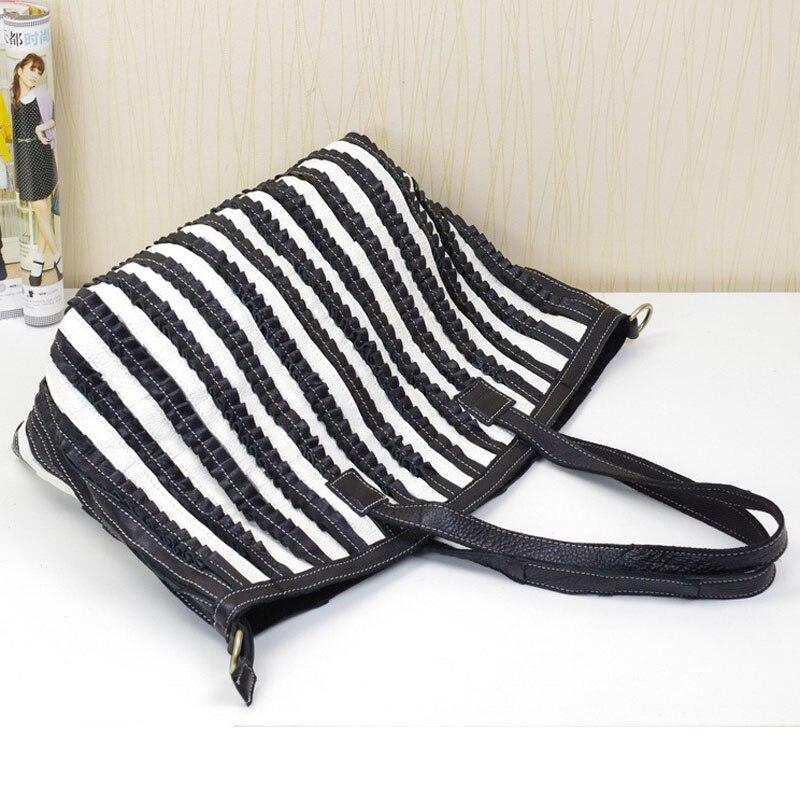 black Rindsleder Koreanische Schulter Black And Weibliche Tasche Lässig Gestreiften Der Weichen 2019 Version Echtem White Leder Damen ERqxa0