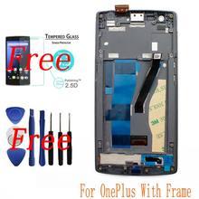 Nuevo para oneplus one 1 + a0001 panel de pantalla lcd + pantalla táctil digitalizador asamblea con marco probado completamente + herramientas + vidrio templado