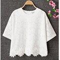 NATASHA. LILI 2016 Nova moda Plus Size Mulheres Lace Blusa Branca Camisas Casual Tops Roupas de Verão chiffon Blusas femme Floral