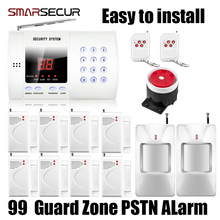 цена на 99 Zones Wireless Personal Defense Safe PIR Home/house Security PSTN Alarm Burglar Voice System Auto Dial Dialing