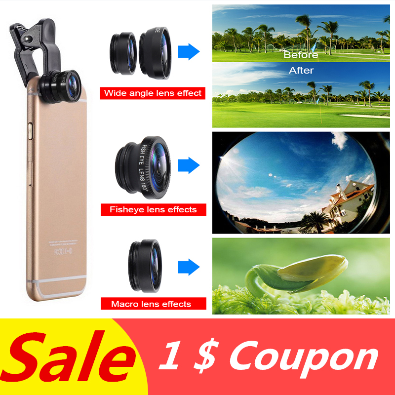3 In 1 Universal Wide Angle Macro Fisheye Lens <font><b>Camera</b></font> Kits Selfie Mobile <font><b>Phone</b></font> Fish Eye Lenses Fit For All Cellphone <font><b>Accessories</b></font> image
