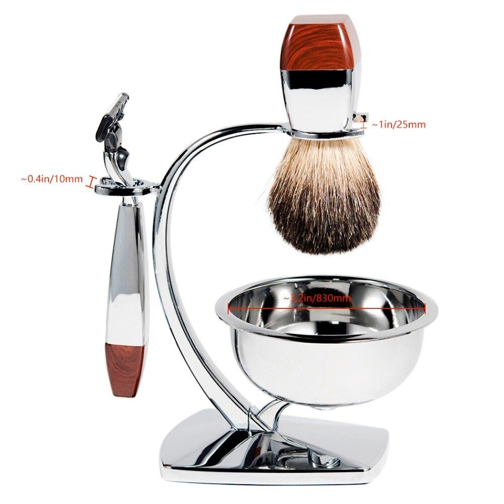 Grandslam 남자 안전 면도기 키트 오소리 머리카락 면도 세트 5 레이어 블레이드 면도기 홀더 스탠드 + 면도 크림 비누 그릇 최고의 선물-에서면도기부터 미용 & 건강 의  그룹 2