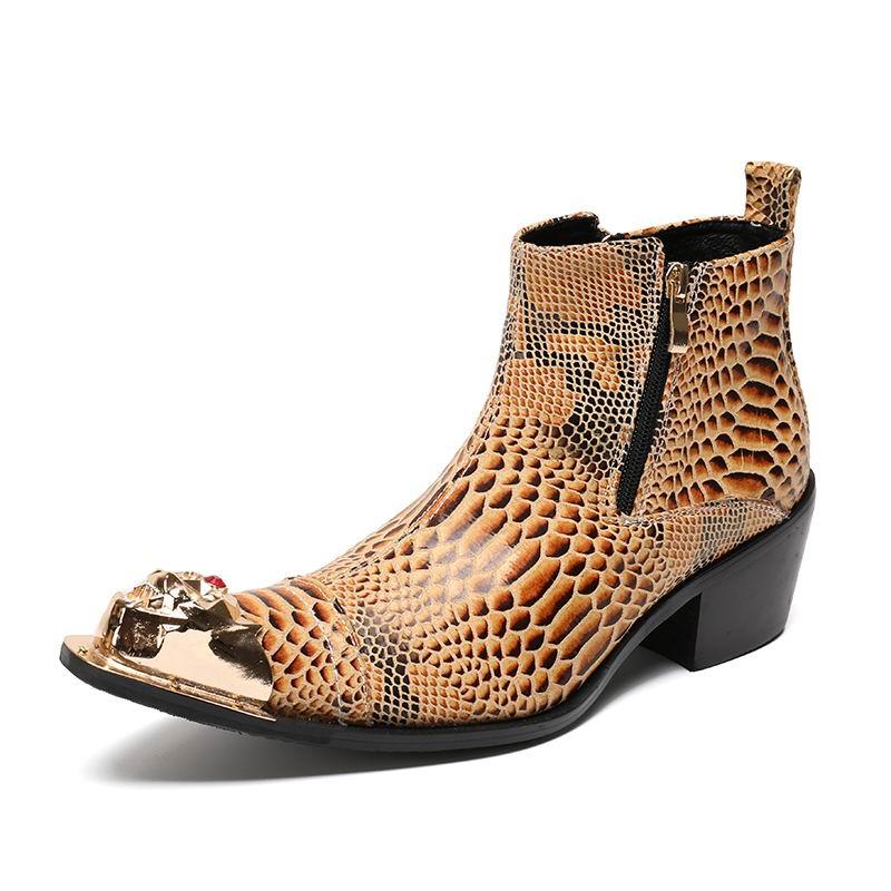 Moda Personalizado Sapatos Apontado Tornozelo Martin Padrão Metal Laranja Do Bota De Encanto Pé Python Designer Curta amarelo Errfc Dedo Homens Couro Alta UAYFxF