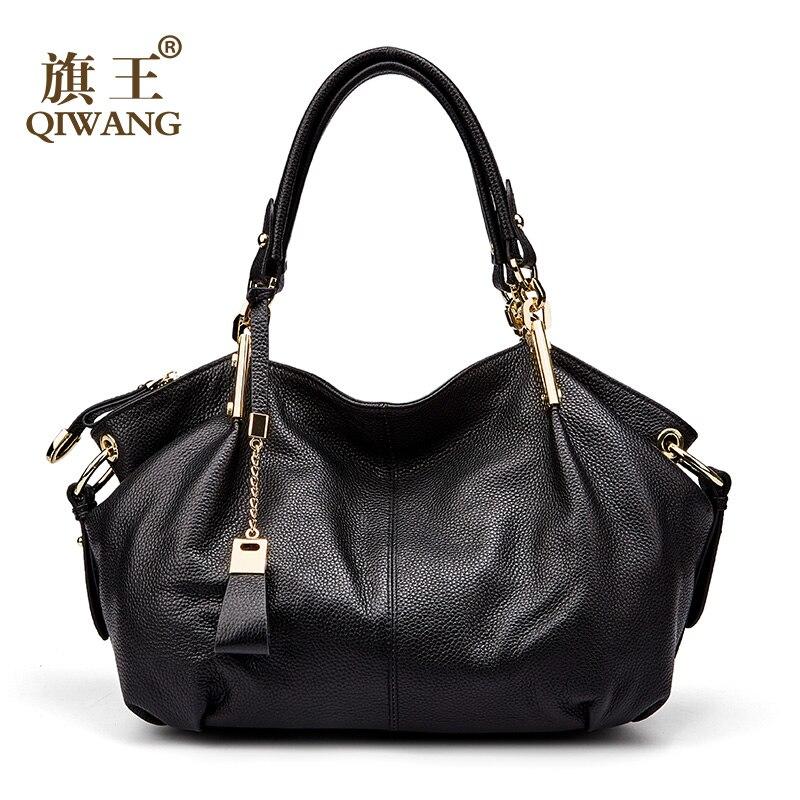 Qiwang Для женщин Сумки из кожи мягкой кожаные сумки-узлы Большой Великолепная Сумки сумки на плечо полный зерна коровьей сумки