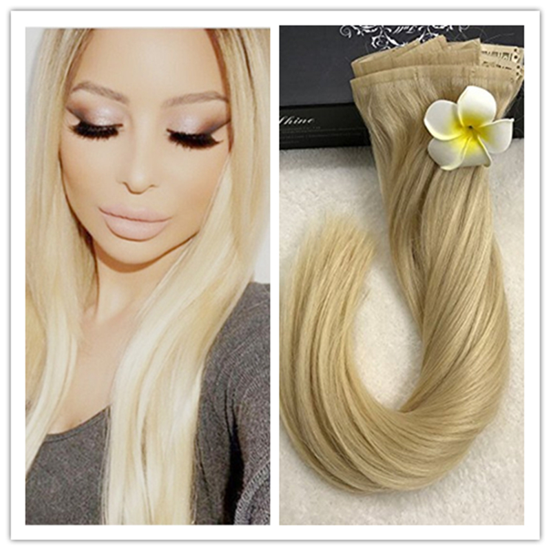 Full Shine New Fashion 8Pcs 100 Tape Clip in Remy Hair Extensions Color #613 Blonde Brazilian Human hair  Sew Clip on to Pu Tape