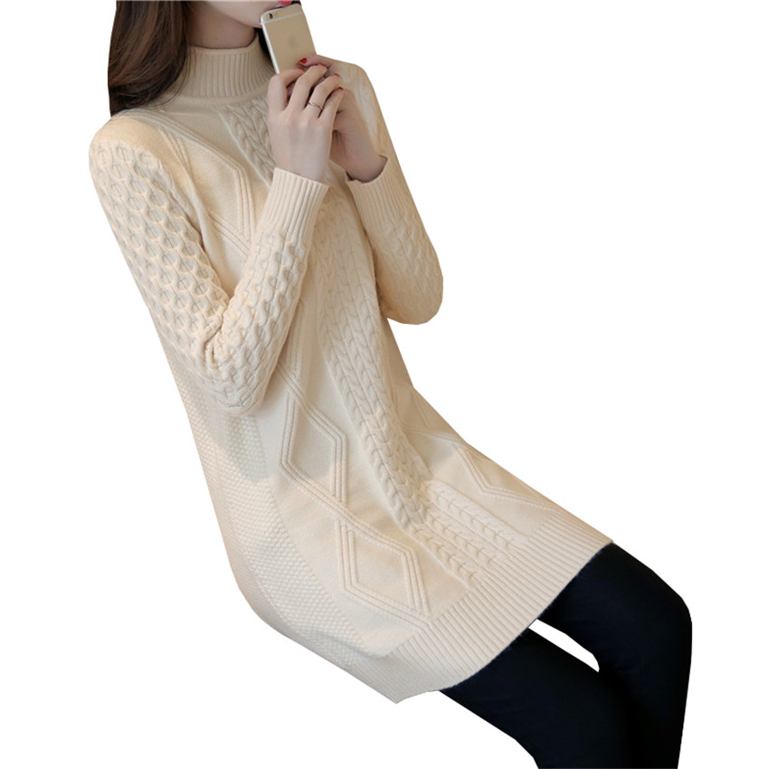 2017 Women Turtleneck Sweater Dress New Autumn Winter Warm Thick Twist Knitted Dresses Lady Slim Solid Bottoming Vestidos AB657 women turtleneck front pocket sweater dress