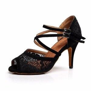 Women Ballroom Latin Dance Shoes Black Red Salsa Tango Bachata Dance Shoes Heels 5/6/7.5/8.5cm Suede Sole VA20(China)