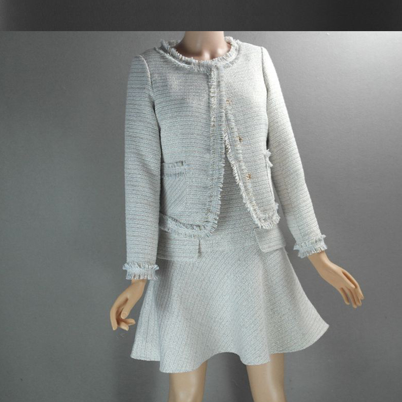 Online Shop Light gray tweed jacket   dress set customized 2017 ...