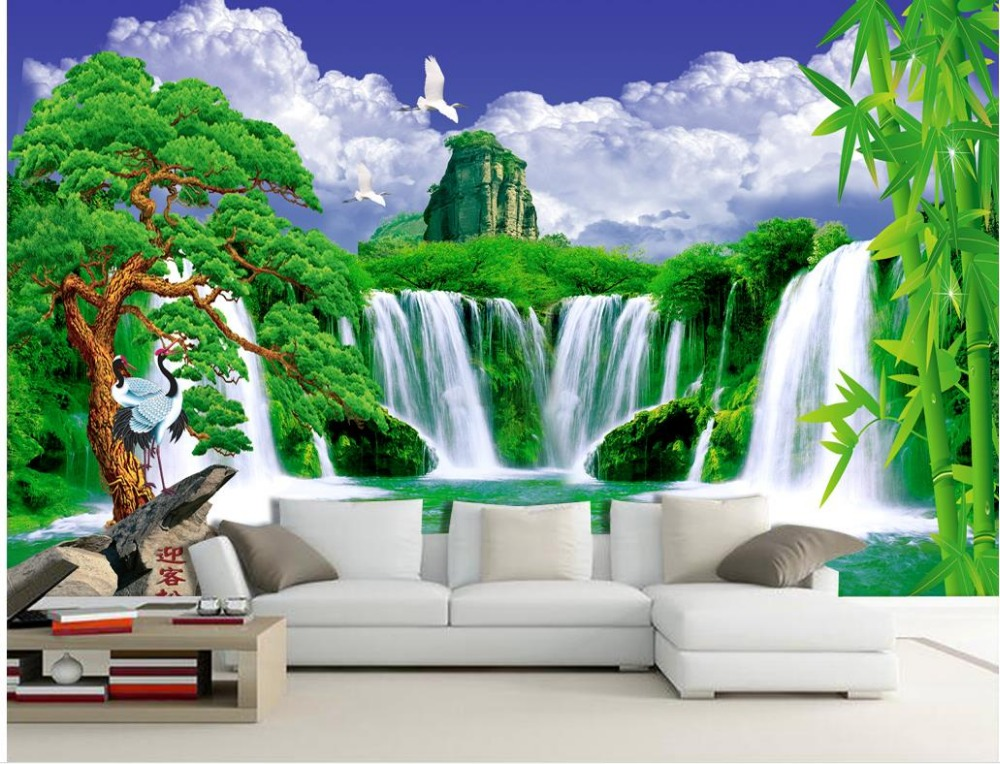 custom 3d wallpaper Blue sky and white clouds waterfall welcoming pine landscape backdrop bamboo wall 3d wallpaper Обои