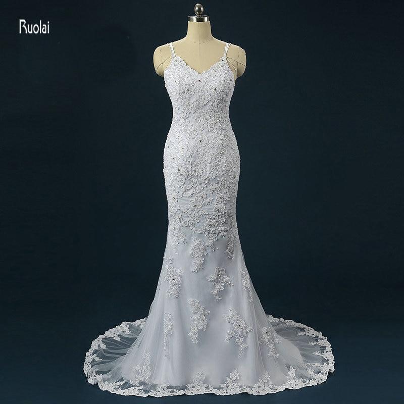 Krāšņs apvalks kāzu kleitas 2017 Vestido De Noiva Sereia slaucīšanas vilciens bezkrāsains spageti siksnas tilla līgavas kleitas kleitas