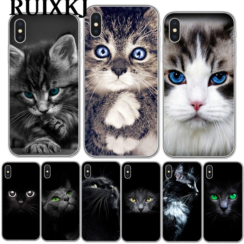 Cute Black <font><b>Cat</b></font> Staring Eyes Soft TPU Phone <font><b>Case</b></font> For Coque <font><b>iPhone</b></font> X 10 Clear Silicone Cover For <font><b>iPhone</b></font> 5S SE 6 6S 7 Plus 8 8Plus image