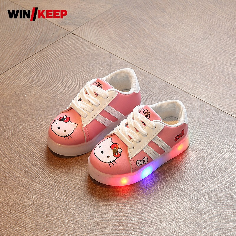 New Hot Sale Children Shoes Pu Leather Comfortable Breathable Running Shoes Kids LED Luminous Sneakers Girls White Black Pink glowing sneakers usb charging shoes lights up colorful led kids luminous sneakers glowing sneakers black led shoes for boys