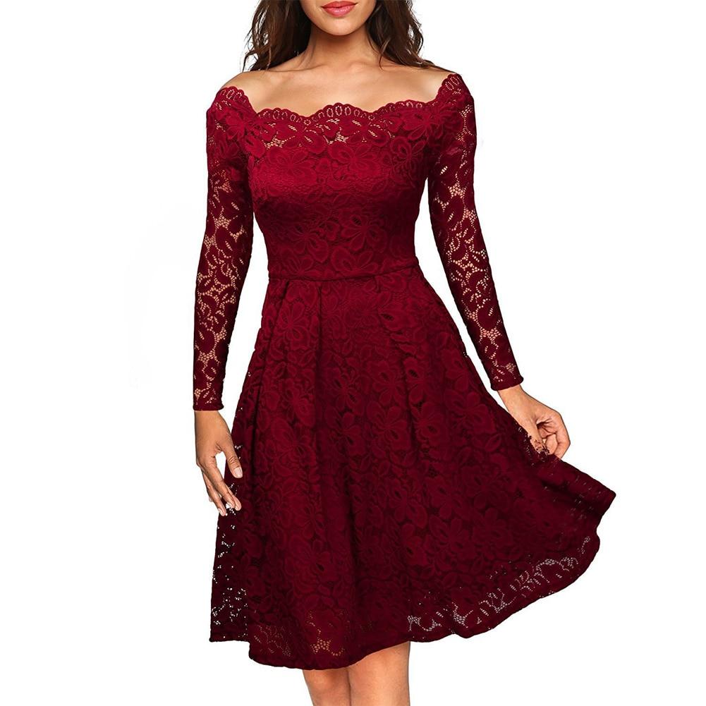 Женское Кружевное Платье С Длинными Рукавами