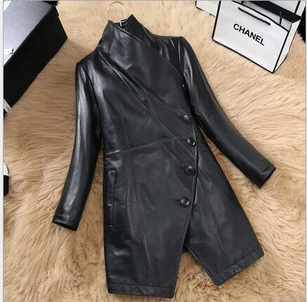 Slim Taille Très Cuir Manteau Fit Dames Mode Est Veste Femmes Noir La Tranchée 2017 En Qualité Longue Plus Bon Printemps vaOxx0