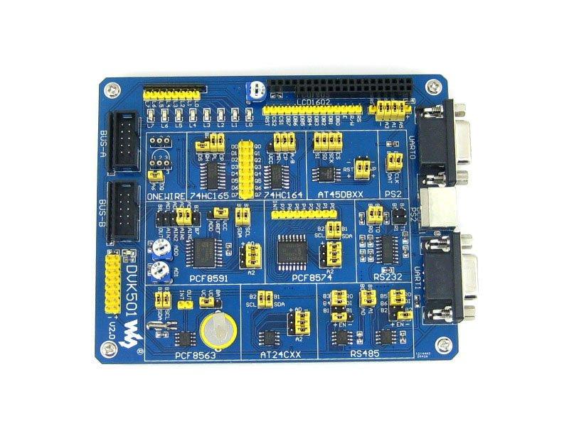 Pièces ATMEL AVR Conseil de Développement carte D'extension DVK501 MCU PCF8563 DS18B20 MAX3232 PS/2 MAX485 LED pour AVR Atmega série Mcu
