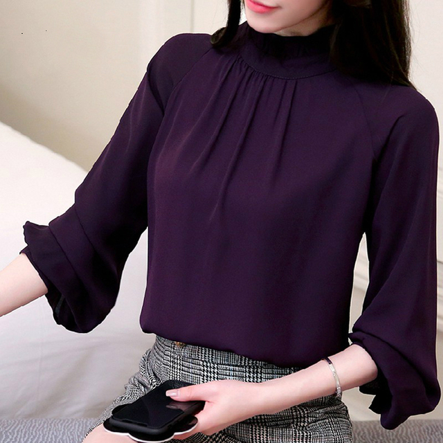 b4a683b2e98b7d Women Blusas Feminina Elegant Chiffon Blouses 2019 Spring Casual Lantern  Sleeve Female Shirt Fashion Purple Tops