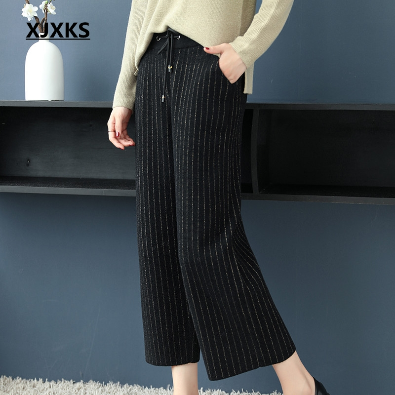 Alta Jóvenes Señoras Hasta Streetwear Sueltos Pierna De Mujeres 2018 Xjxks Pantalones Encaje Negro Nueva Casual Gama Las Moda 0RWqf7P