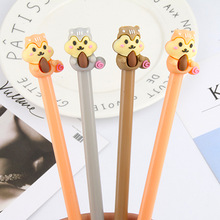 48pcs/pack black ink Creative Cute Cartoon Animal Squirrel Gel Pen Students Water Ink Signing School Office Stationery