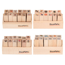 12pcs/set DIY Cute Cartoon Wooden Rubber Stamp for Diary Scrapbook Envelope Seal Stamping Scrapbooking Alphabet Gift Seal Stamps