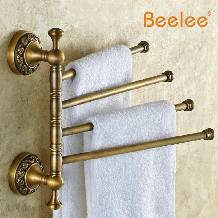 Beelee BA7515A Solid Brass Vintage Style Bathroom Revolve Towel Bar ...