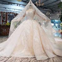 HTL186 2019 nuevo diseño vestidos de novia de belleza con detalles de tren hojas de encaje apliques de lujo vestido de novia con velo