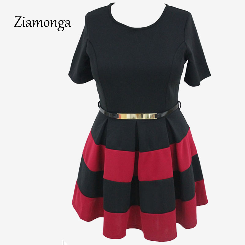 65b71eae21590 Ziamonga Plus Size XXXL Big Size Summer Casual Dress Women Clothing Black  White Red Blue Patchwork Elegant Evening Party Dresses-in Dresses from  Women's ...