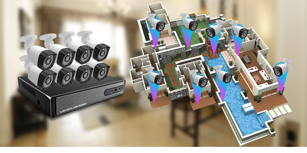 FL-AKT2008DHB 1080P HDMI DVR Kit 8CH AHD CCTV System 8PCS 2.0MP Security Camera Outdoor Waterproof AHD Surveillance DIY Kit