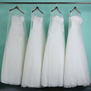 Image 2 - طويل 160 سنتيمتر 180 سنتيمتر شفافة لينة تول غطاء غبار للمنزل ملابس الزفاف فستان الملابس فستان زفاف حامي شبكة الغزل AC017