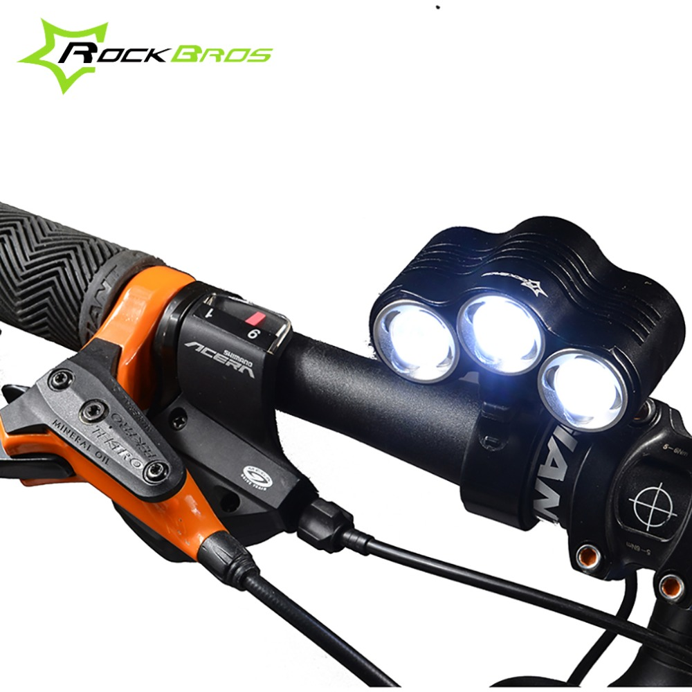 ФОТО ROCKBROS Bike Bicycle Rechargeable LED Light Lamp XM-L LED 1800LM 2700 Lumens MTB Cycling Light Rainproof Front Light Lamps