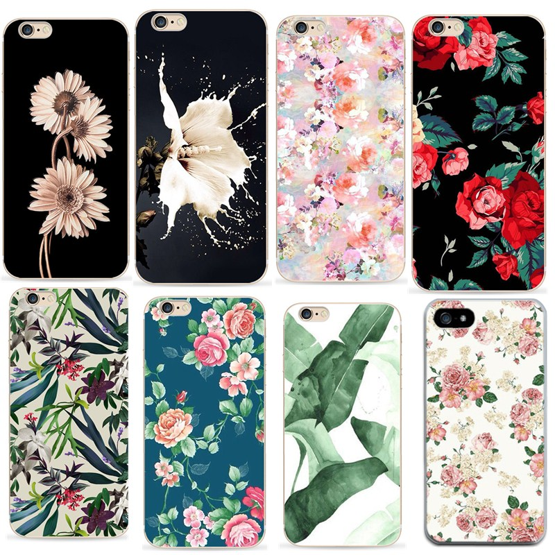 For fundas iphone 7plus cases 360 silicon cover for iphone 7 accessories Floral Phone case for iphone x 6 6 s 5 5s se case