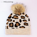 2016Trendy 100% Real Fur Raccoon Pompom Winter Beanies Hats Leopard Hats Women European Famous Brand Wool Skull Cap In Women