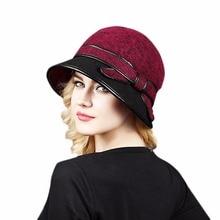 760374db7e126 Moda Otoño Invierno de las mujeres sombrero de cubo de tapas para mujer  dama elegante Inglaterra cinturón cúpula sombrero Fedora