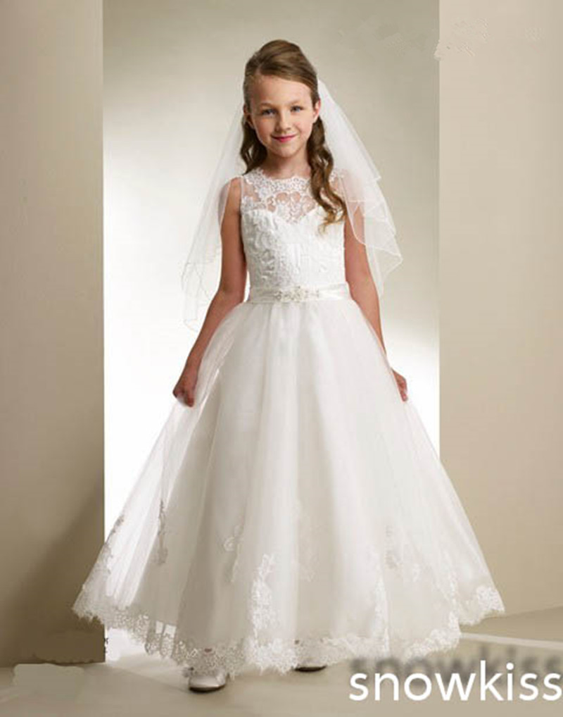 white/ivory Holy the first communion dress ankle length sheer lace flower girl dresses appliques A-line wedding party gowns