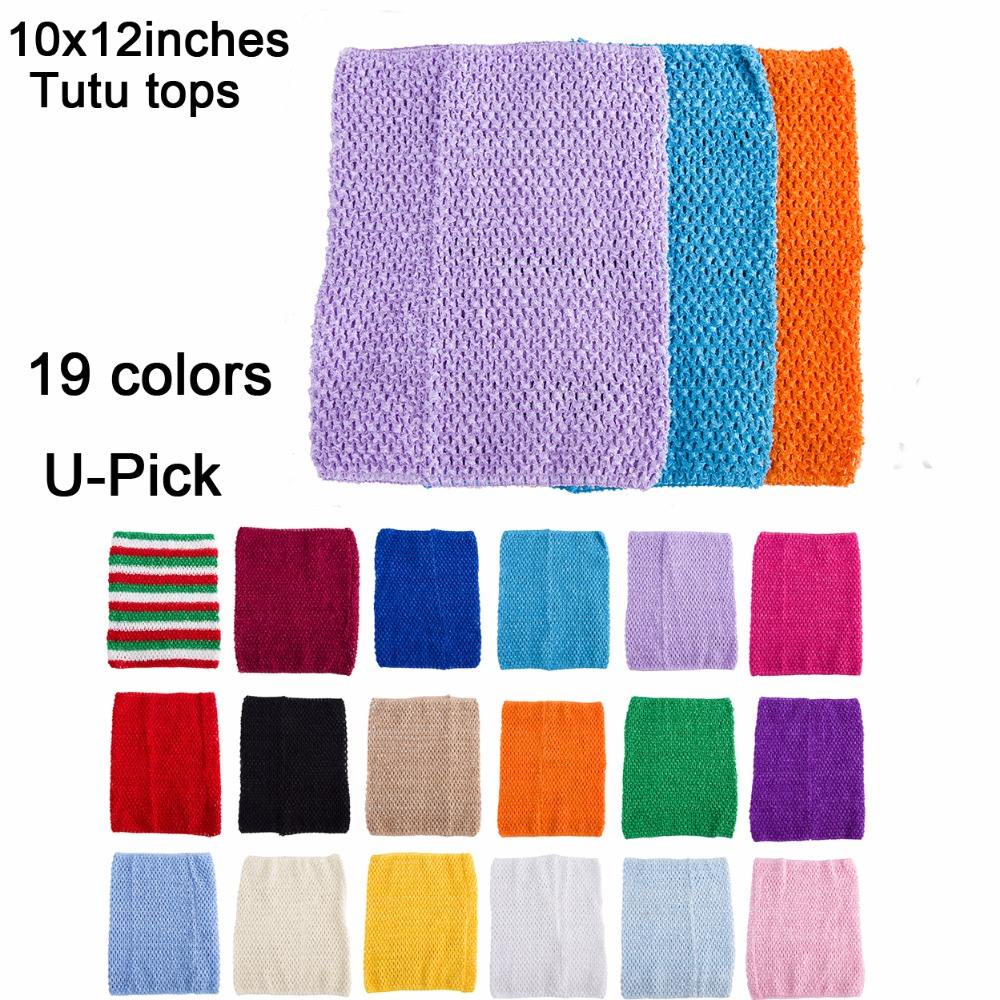 10x12 Inches Large Size Crochet Tube Top Tutu Top 12inch Crochet Headband Girls Pettiskirt Tutu Tops 10pcs Per Lot