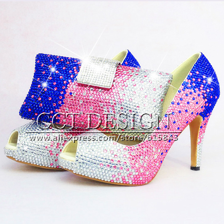 White Pink Blue Rhinestone Wedding High Heels Sexy Women ...
