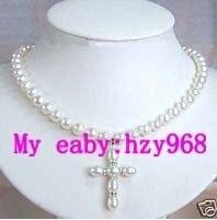 Superbe Blanc Perle Collier Avec Pendentif Croix 7-8mm 4.30