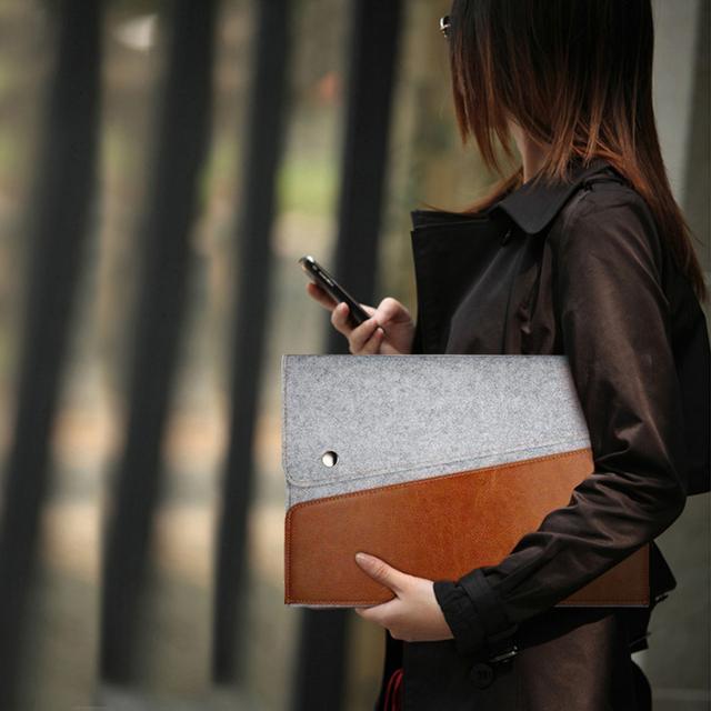 Nova bolsa em couro genuíno capa bolsa para microsoft surface pro12 3 4 ultrabook laptop sentiu manga bolsa carteira com alça