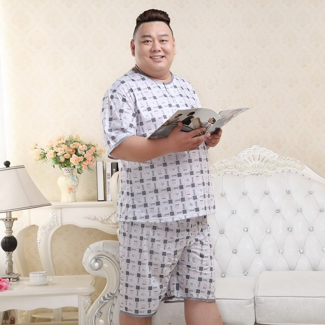 Free Shipping 2018 Men's Summer Cotton Plus Size Pajamas Male Extra Large Size Sleepwear Set Thin Fabric Short Sleeve Shorts