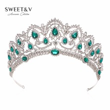 Luxury Crystal Crown Wedding Tiara Princess Party Hats Bridal Head Jewelry – Pageant Prom Women Hair Accessories w/ Gems