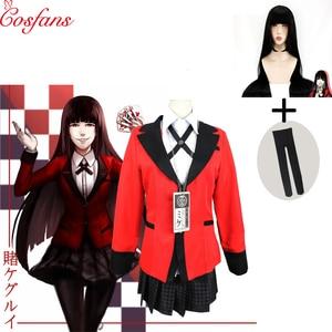 Image 1 - 7PCS Hot Cool Cosplay Costumes Anime Kakegurui Yumeko Jabami Japanese School Girls Uniform Full Set Halloween party cosplay wig