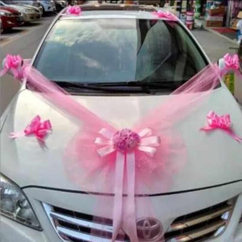 Wedding Car Flower Decoration Set Red Pink Main Flower Garland With Bear 11pcs Pull Flower House Decoration Diy